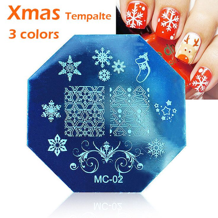 MC  Christmas snowflake Art Plate Stamp Stamping Set Round Stainless Steel DIY Nail Polish Print Manicure Nail Stencil Template
