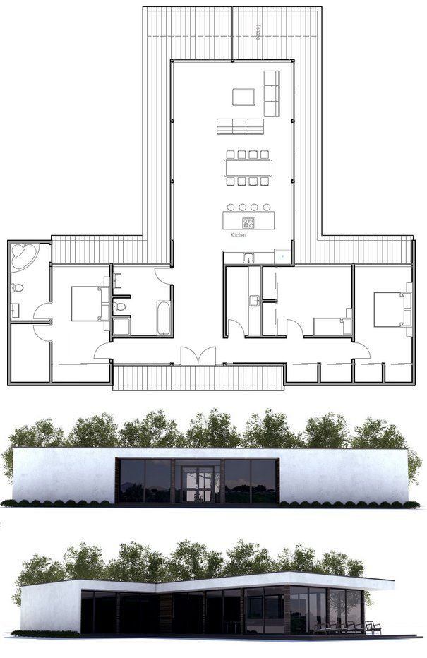 20 best 39 t 39 shaped houses plans images on pinterest - T shaped house plans ...