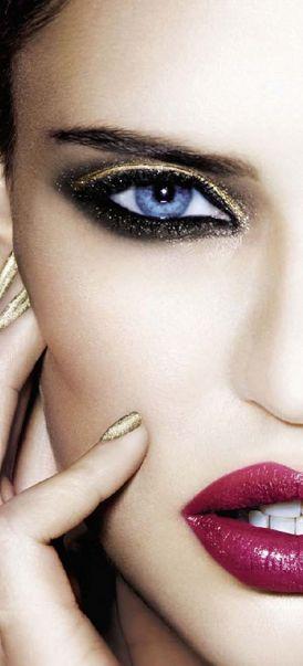 { gold smokey eye + burgundy lips }