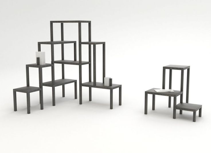 Een ludieke boekenkast die bestaat uit opgestapelde tafels door Studio Frederik Roijé. #design #interieur #accessoires