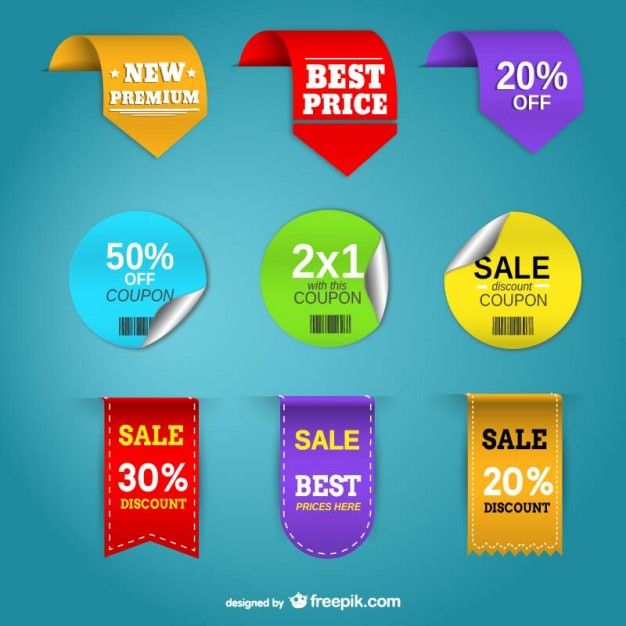 Etiquetas de preços promoção conjunto de vetores Vetor grátis