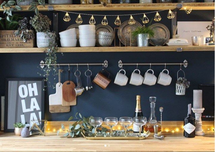 kitchen styling with champagne glasses