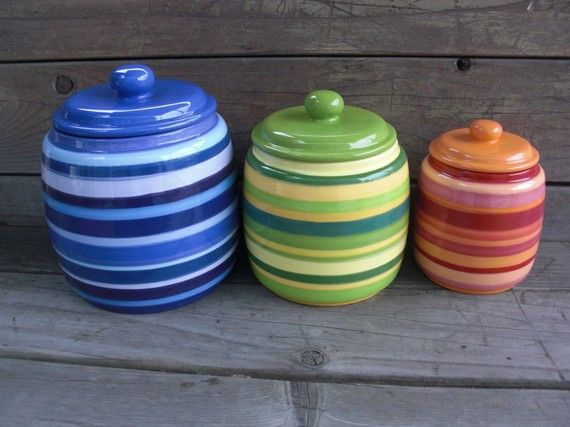 Custom Set Of 3 Handcrafted Ceramic Kitchen Canisters Pick Your Colors By  InAGlaze, $125.00
