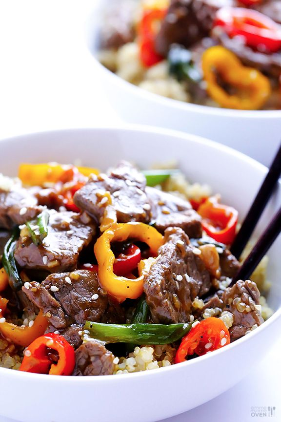 Easy Pepper Steak  [Marinade Ingredients: 1/4 cup soy sauce,  1/3 cup water,  2 Tbsp. rice wine vinegar,  1 Tbsp. corn starch,  1/8 tsp. coarsely-ground black pepper.  Saute mini sweet peppers, scallions, garlic and ginger, then saute beef, then add marinade]