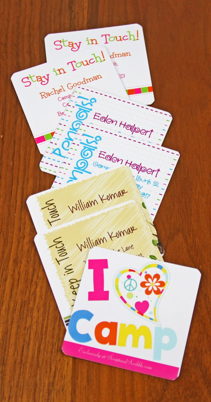 Here's a great way for your kids to stay in touch with friends over the summer break or when sleep-away camp ends. Our Keep-In-Touch cards are personalized with contact information, printed on both sides with our exclusive designs. Here are just a few samples.