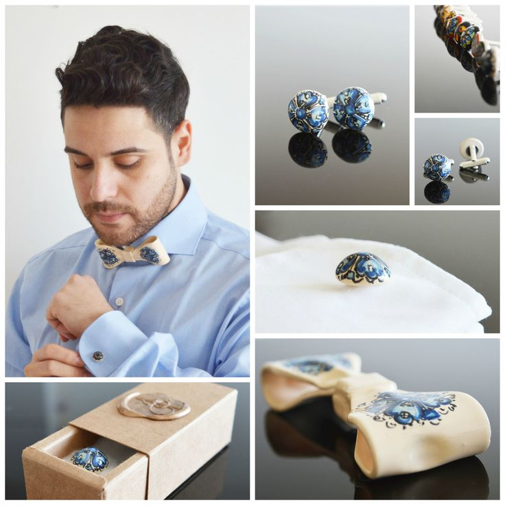 Amazing blue flower themed ceramic bow tie and cuff links. They're not your typical accessories but they look amazing and I promise you they will turn quite a few heads. If you like to be unique, look no further!