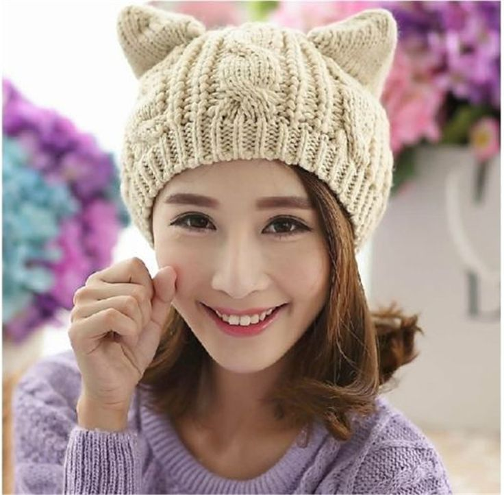 6 Colors Free Size Cute Cat ers Women's Ladies Woolen Berets Twisted Orecchiette Knitted Cap Keep Warm Hat Party Gift //Price: $US $4.02 & FREE Shipping //     #clothing