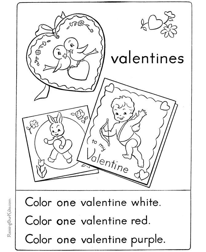 kid valentine card coloring pages