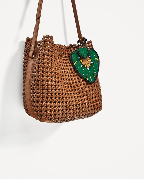 Image 4 of BRAIDED BUCKET BAG WITH PENDANT DETAIL from Zara