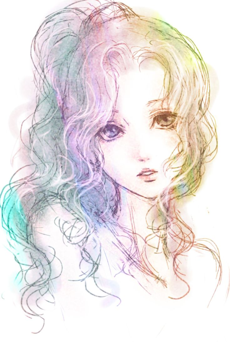 Ahh, this is a nice sketch! I love the wavy hair too! And the face/eyes are very expressive.
