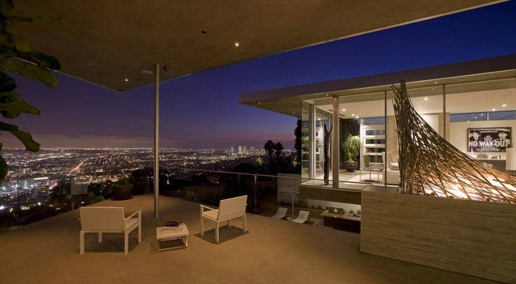 At night, the back patio is a great space for entertaining.  (McClean Design)