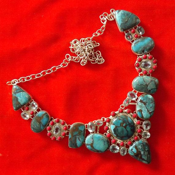 Copper Turquoise, Blue Topaz, Coral Necklace Plated 925 Sterling Silver Jewelry 94 Gms, Statement Necklace, Exclusive Necklace, Big Necklace