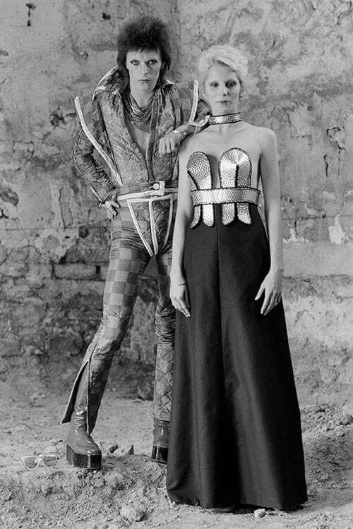"""David and Angie Bowie """"Paris Collection"""" photo shoot 1973 by Terry O'Neill"""