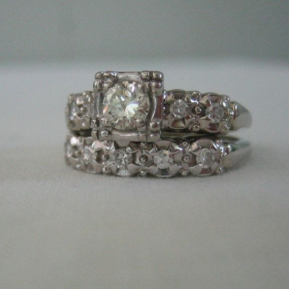 vintage 1940s white gold diamond engagement ring wedding band ships from us addy on - Where To Buy Wedding Rings