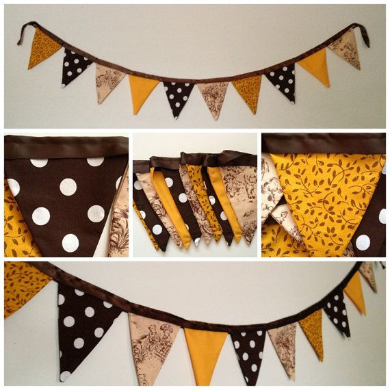 Vintage inspired nursery banner. Brown, gold, tan, and toile teddy bears. #fabric #banner #bunting #fabricbanner #fabricbunting #reusable #homedecor #nurserydecor #nursery #babysroom #vintage #retro #vintagenursery #teddybears #toile  sweetoctobershop.etsy.com
