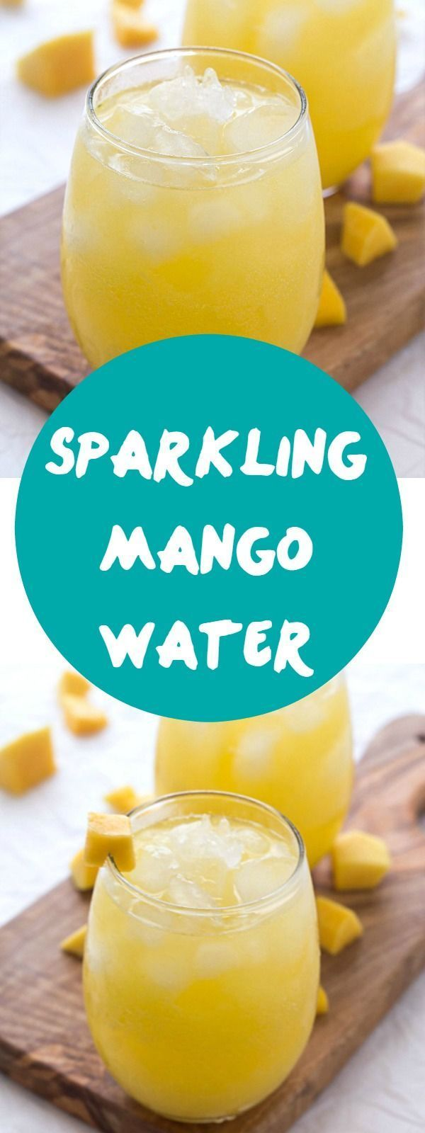 Sparkling Mango Water - Calling all mango smoothie lovers! Absolutely delicious and refreshing on a hot summer day! Perfect addition to your sparkling water recipes!