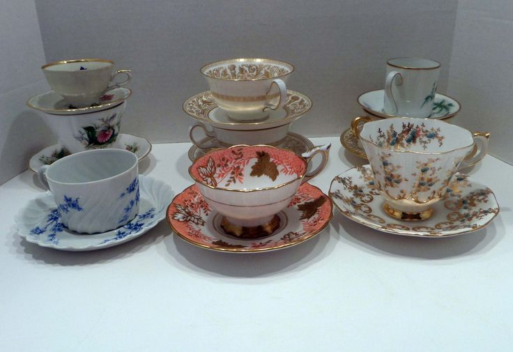 A group of tea cups that I recently purchased from a friend ...........