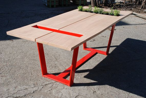 Red Oak Dining Table: Live Edge Slab Oak Top on Steel Legs