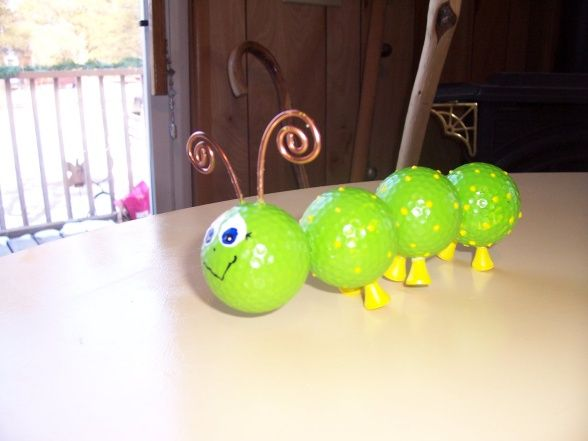 ball bug, caterpiller made from golf balls and tees, , Gift Ideas Project