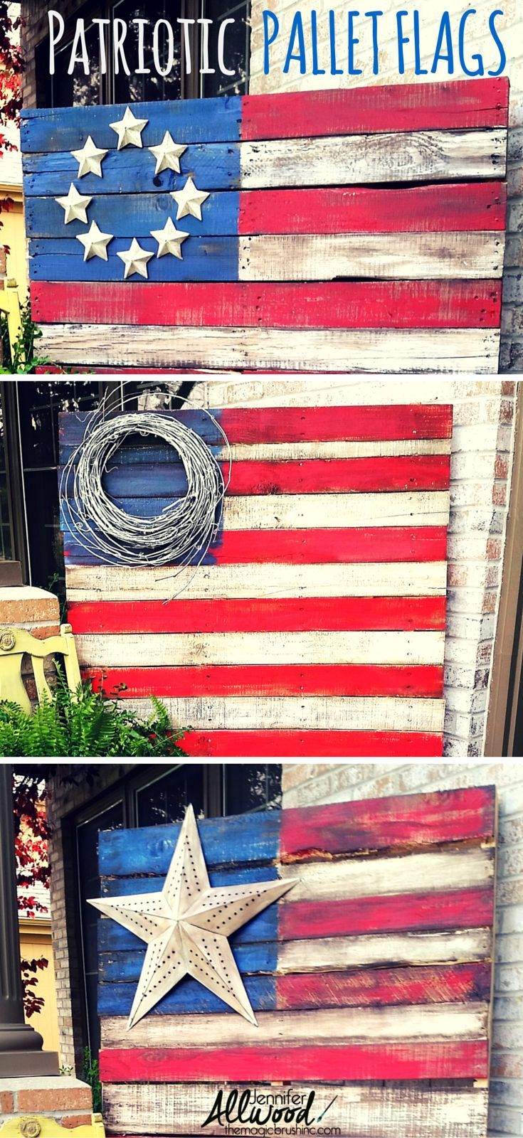 Celebrate Independence Day / Fourth of July with some decorative Patriotic Pallet Flags. Free videos by http://theMagicBrushinc.com on how to do it step-by-step, prepping, painting and staining!