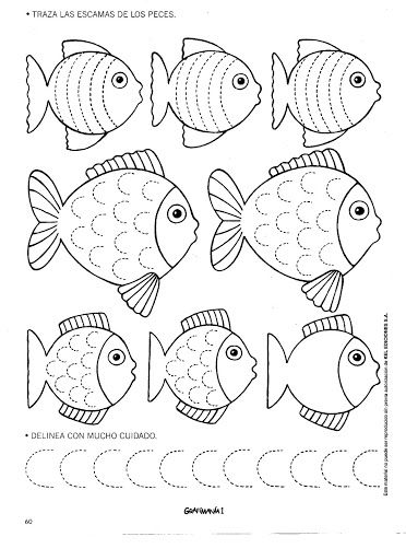 schrijfpatroon vissen voor kleuters