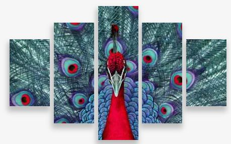 Canvas Wall Art 5 Panel Framed Multi Print- Red Peacock