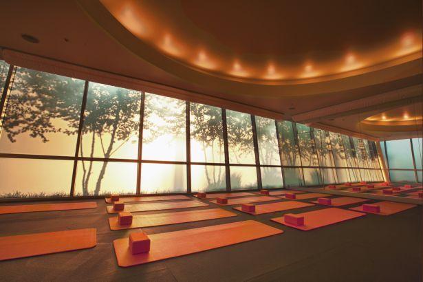 Yoga studio ceiling lighting and back light mural for Yoga room design ideas