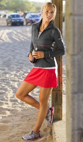 I wouldn't think to go running in a skort, but this is an adorable running outfit.