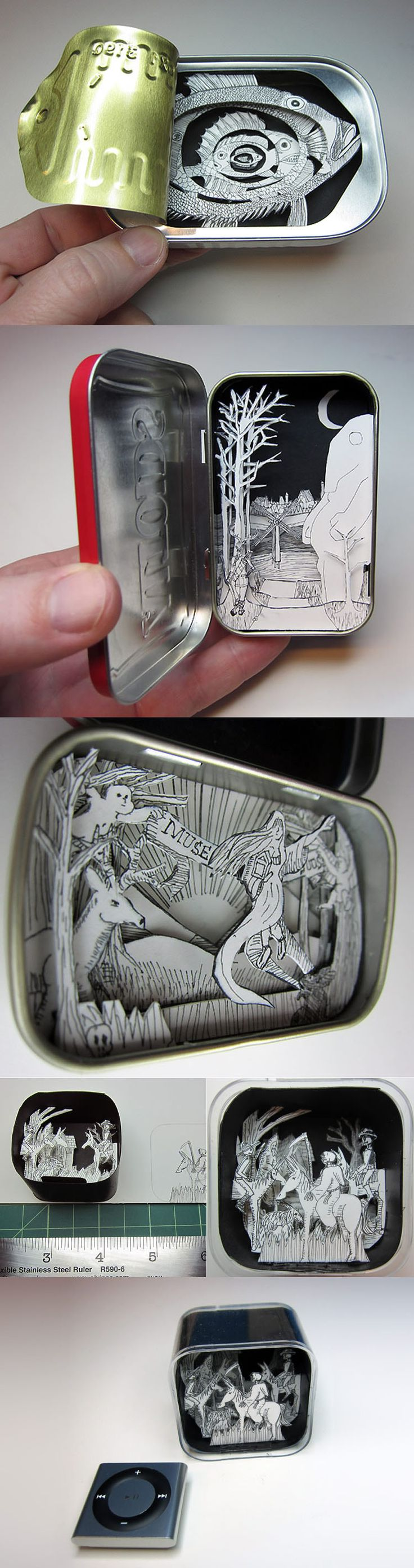 shadow box tins: future Sean crafts.  I already find these tins in every pocket he has, he might as well make little scenes for the inside.