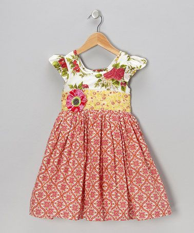 Another great find on #zulily! Bright Coral Lottie A-Line Dress - Infant #zulilyfinds