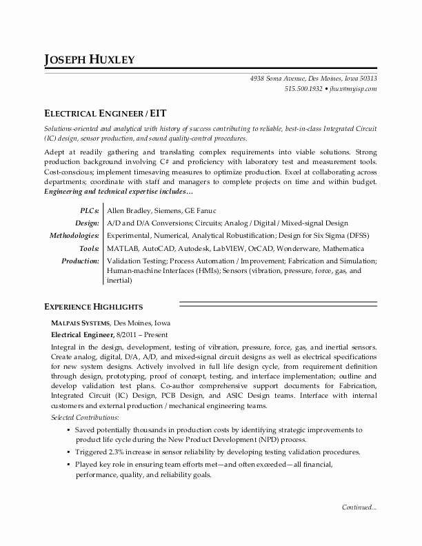 Mechanical Engineering Resume Objectives Beautiful Electrical Engineer Resume Sample Engineering Resume Best Resume Template Best Resume Format