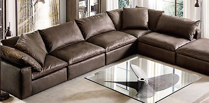27) Cloud Cube Modular Leather Sectionals | Restoration Hardware
