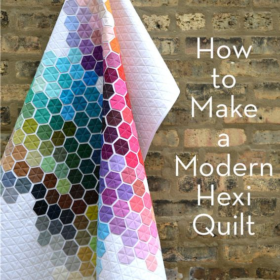 Are you a quilter? Please make this modern hexi quilt - it's so pretty!