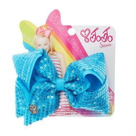 Jojo Siwa Small Blue Sequin Hair Bow