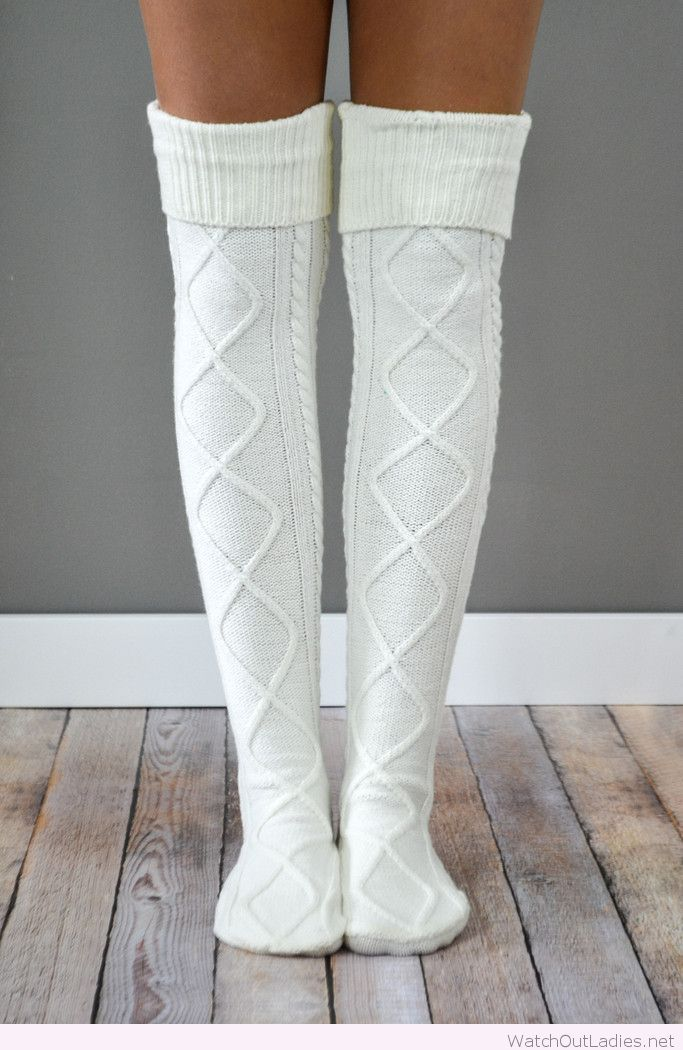 Diamond cable knit boot socks
