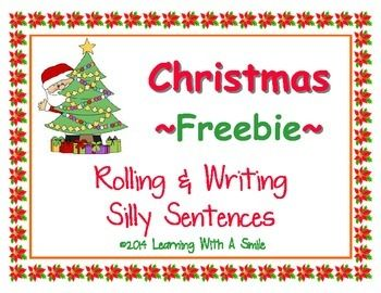 I hope you enjoy this cute Christmas freebie!    Directions:  Roll the die three times.  Each time, write the phrase that matches the number on the die to form a complete sentence on the recording sheet.  Continue until you have six complete sentences.