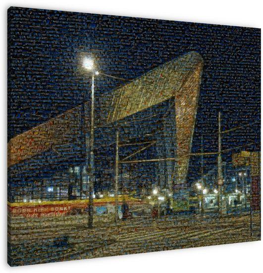 Veel foto's nieuwbouw Centraal Station Rotterdam gecomprimeerd tot één. Plaat heeft gehangen op tentoonstelling in Informatiecentrum Nieuwbouw Centraal Station in Groothandelsgevouw.