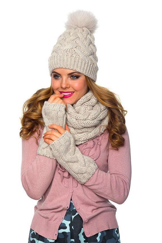 ece156ae43aea Pom pom hat fleece lined Infinity scarf Fingerless gloves set Knit ...