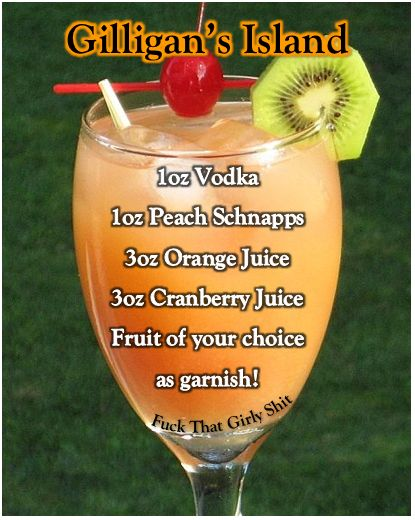 Gilligan's Island Alcoholic Drink - YUM! I'm sure you could use cherry vodka or cranberry or really any flavor to even kick it up a notch!