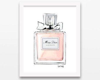 COCO Mademoiselle Chanel parfum PRINT  Roze illustratie
