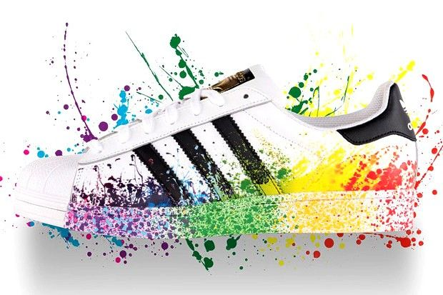Adidas Superstar Originals II Spritzen-Ink Unisex JB-P Regenbogen Weiß /Schwarz D70351