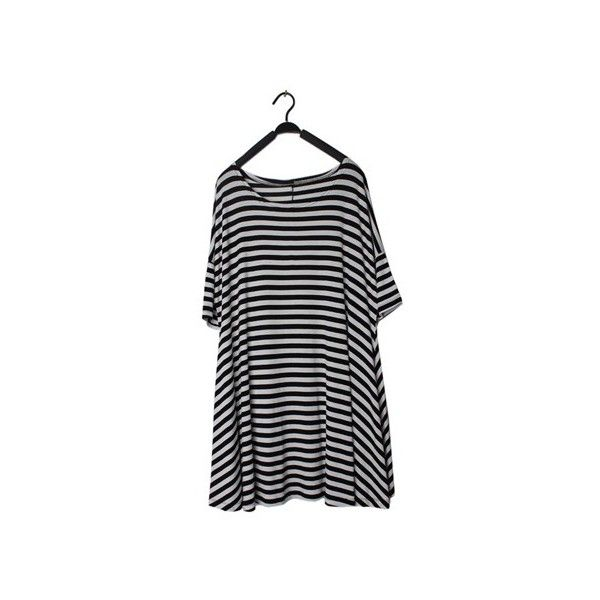 New Women Summer Navy Style Loose Plus Size Round Neck Stripe Short... (21 CAD) ❤ liked on Polyvore featuring dresses, persunmall, shirts, plus size navy blue dress, short sleeve summer dresses, loose summer dresses, navy dresses and women's plus size dresses