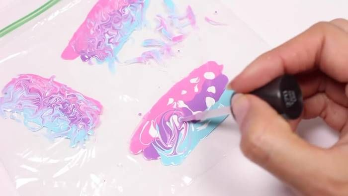 Creative Ideas – DIY Water Marble Nail Stickers With A Plastic Bag