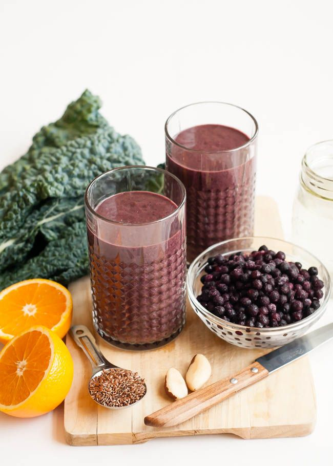 Wrinkle Fighting Berry + Kale Smoothie ~ All you need is Coconut Water, Kale, Frozen Wild Blueberries, Orange, Flax Seeds and Brazil Nuts.