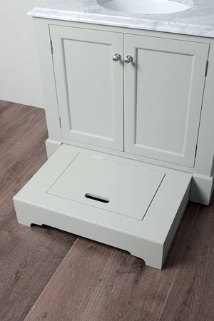 Porter Vanities Louis Single Vanity Unit with built in step / storage drawer. £1995 inc VAT (Includes solid wood base unit, 30mm Marble Top with backsplash & under mounted basin)