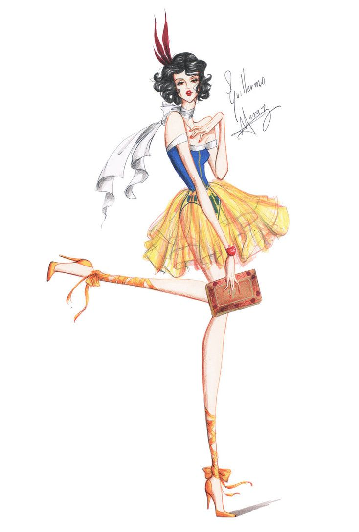 Guillermo García Meraz, art, illustration, fashion, fashion sketches, high fashion, Disney, fan art, film, Snow White
