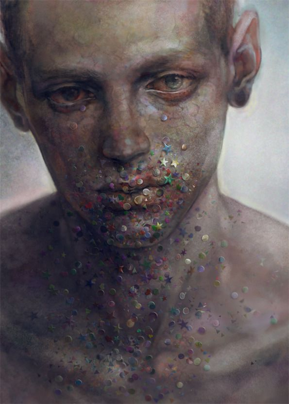"""Ethereal Digital Paintings Capture The Look Of Loneliness. """"Concocting images of isolated pain and an ethereal sadness into haunting depictions of young western men, 非 reveals a mystified insight into the depths of the Japanese psyche."""""""