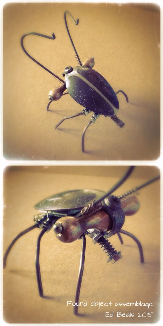 Beetle made of various found small metal parts.