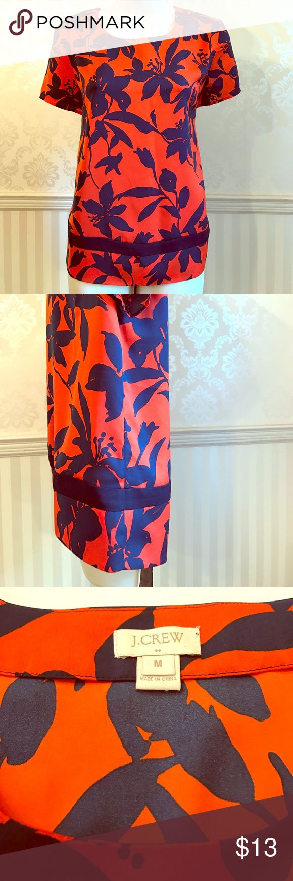 """NWOT J. Crew Floral Split-Hem Shirt Never worn J. Crew floral split-hem top. Perfect condition! Vibrant orange color with navy flowers. Looks great with a pair of dark skinny jeans! Slouchy fit. 100% polyester. Bust is about 38"""", length is 25.5"""". Size M. J. Crew Tops Blouses"""