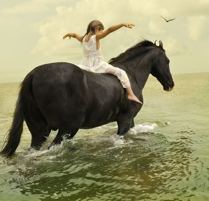 Little girl riding a Marwari horse in the water - Photography by Tom Chambers - Art